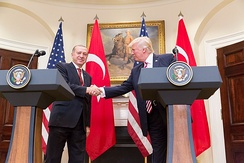 President Trump and Turkish President Erdoğan give a joint statement in the Roosevelt Room