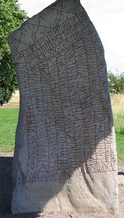 The Rök runestone (Ög 136), located in Rök, Sweden, features a Younger Futhark runic inscription that makes various references to Norse mythology.