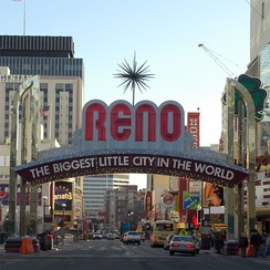 Downtown Reno, including the city's famous arch over Virginia Street