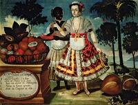 Three mulattomen from Esmeraldas (1599) by Andrés Sánchez Galque. Quito Painting Colonial School.