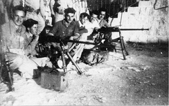 Yiftach Brigade, with their Hotchkiss machine guns, based at Bussel House, 1948