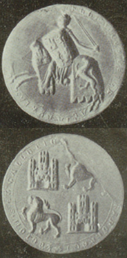 Equestrian seal (1237) of Ferdinand III, quartering the arms of Castile and León.