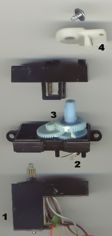 Small R/C servo mechanism. 1. electric motor 2. position feedback potentiometer 3. reduction gear 4. actuator arm