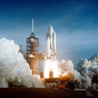 Launch of Space Shuttle Columbia on 12 April 1981 at Pad 39A for mission STS-1