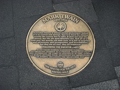 Plaque on Sydney Writers Walk commemorating the visit of Twain in 1895