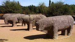 Bulls of Guisando, in El Tiemblo, Ávila. These verracos, of Celtic origin, are found in many towns of the western half of Castile and León.