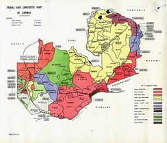A tribal and linguistic map of Zambia.