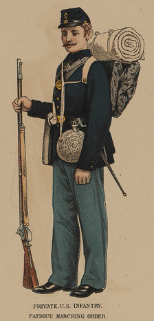 "Union private infantry uniform, from plate 172 of the ""Atlas to Accompany the Official Records of the Union and Confederate Armies"", containing illustrations of uniforms worn by Union and Confederate soldiers during the American Civil War"