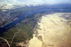 An aerial view of irrigation from the Nile River supporting agriculture in Luxor, Egypt