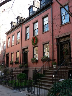150–159 Willow Street, three original red-brick early 19th-century Federal Style houses in Brooklyn Heights
