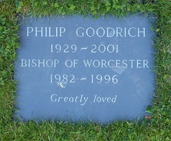 Worcester Cathedral, grave of Bishop Philip Goodrich in the Cathedral Cloisters