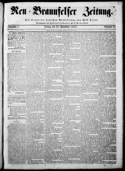 Front page of the Neu-Braunfelser Zeitung on September 16, 1853