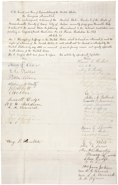 Petition from the citizens of Massachusetts in support of woman suffrage
