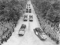 Four DUKW amphibious vehicles taking part in the Victory Parade in London on 8 June 1946