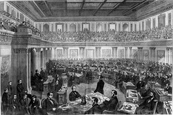The Senate has the power to try impeachments; shown above is Theodore R. Davis's drawing of the impeachment trial of President Andrew Johnson, 1868