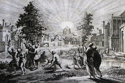 The tree of life[Rev 22:2], a print from the Phillip Medhurst Collection of Bible illustrations in the possession of Revd. Philip De Vere at St. George's Court, Kidderminster, England.