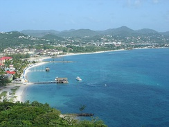 Gros Islet and Rodney Bay as seen from Pigeon Island