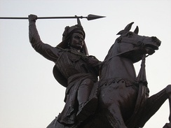 An equestrian statue of Peshwa Baji Rao I outside Shaniwar Wada. He expanded the Maratha Empire in north India c. 1730.[44][45]