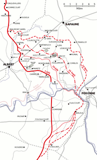 Progress of the Battle of the Somme between 1 July and 18 November.