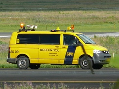 A bird control vehicle belonging to Copenhagen Airport Kastrup, equipped with various tools