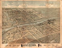 Panoramic map of Bethlehems (1878)