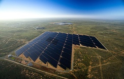 Aerial view of the Broken Hill solar plant. Broken Hill receives a high proportion of sunlight, making it suitable for electricity to be generated from solar power.