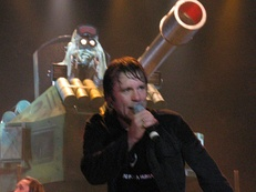 Vocalist Bruce Dickinson during A Matter of Life and Death World Tour. Throughout the tour's first leg, the band played the A Matter of Life and Death album in its entirety.