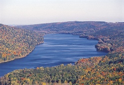 Canadice Lake is surrounded by the Hemlock-Canadice State Forest