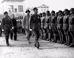 Chiang Kai-Shek inspecting Chinese soldiers in Wuhan as Japanese forces approach the city