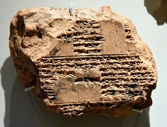 This cuneiform text mentions the murder of Xerxes I by his son. From Babylon, Iraq. British Museum