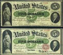 A Demand Note (top) and a United States Note (bottom)