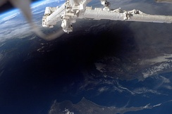 The Moon's shadow over Turkey and Cyprus, seen from the ISS during a 2006 total solar eclipse.