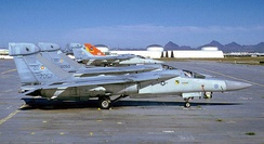 429th ECS General Dynamics EF-111A Ravens being retired at Davis-Monthan AFB Arizona upon arrival at AMARC, 1 April 1988. Serials 67-052 and 66-050 identifiable.