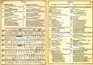 Pages from an 1859 libretto for Ernani, with the original Italian lyrics, English translation and musical notation for one of the arias