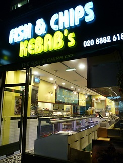 Such shops like this one in London often sell other forms of fast food such as kebabs, burgers etc.