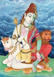 A seated Ardhanarishvara symbolically presenting the feminine Shakti as inseparable part of masculine Shiva.