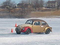 Volkswagen Beetle racing on ice