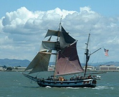 The ketch, such as this modern replica, was a common type of vessel built in the colonial era