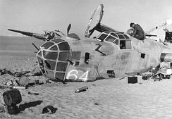 "Wreckage of the 376th Bomb Group B-24D Liberator ""Lady Be Good"" (41-24301) when found in the Libyan Desert, November 1958"