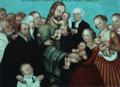 Workshop of Lucas Cranach the younger: Christ blessing the Children, w. Caspar Cruciger in black, next to Elisabeth and second wife Apollonia Günterode in background[2][3]