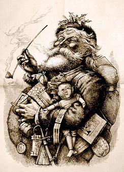 1881 illustration by Thomas Nast who, along with Clement Clarke Moore's poem A Visit from St. Nicholas, helped to create the modern image of Santa Claus