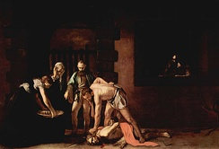 The Beheading of Saint John, by Caravaggio. Oil on canvas, 361 cm × 520 cm (142.13 in × 204.72 in). Oratory of the Co-Cathedral.