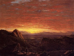 Morning, Looking East over the Hudson Valley from Catskill Mountains by Frederic Edwin Church (1848), of the Hudson River School