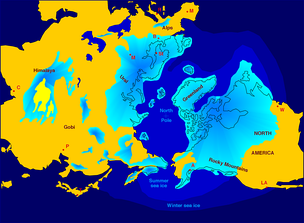 Northern hemisphere glaciation during the last ice ages. The setup of 3 to 4 kilometer thick ice sheets caused a sea level lowering of about 120 m.