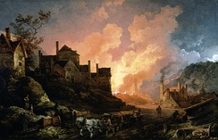 Coalbrookdale by Night, 1801. Blast furnaces light the iron making town of Coalbrookdale.
