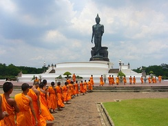 Theravada Buddhism, highly practised in Thailand