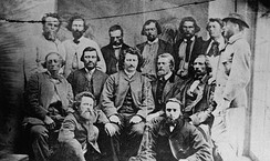 Councillors of the Métis Provisional Government, 1870. Louis Riel sits in the centre.