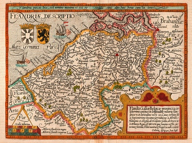 Map of the county of Flanders from 1609 by Matthias Quad, cartographer, and Johannes Bussemacher, engraver and publisher, Cologne
