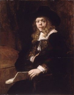 Portrait of Gerard de Lairesse by Rembrandt van Rijn, circa 1665–67, oil on canvas. De Lairesse, himself a painter and art theorist, had congenital syphilis that deformed his face and eventually blinded him.[73]