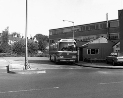 Ribble Motor Services coach on the later withdrawn route 743 in Earby in August 1983